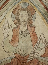 Hippie Jesus in Wäversunda church, Sweden. painted somewhere in the 12th century.